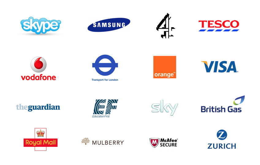 Picture of different company logos, including Skype, Samsung, Channel 4, Tesco, Vodafone, Visa, Orange, The Guardian, and more.